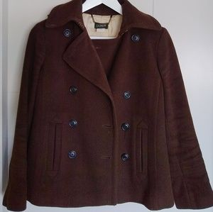 J.Crew Wool Peacoat in Chocolate PXS